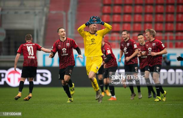 Fabijan Buntic of Ingolstadt celebrates his team's first goal with teammates during the 3. Liga match between FC Ingolstadt 04 and Viktoria Koeln at...
