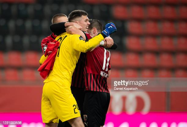 Fabijan Buntic of Ingolstadt celebrates with teammates after the 3. Liga match between FC Ingolstadt 04 and Viktoria Koeln at Audi Sportpark on...