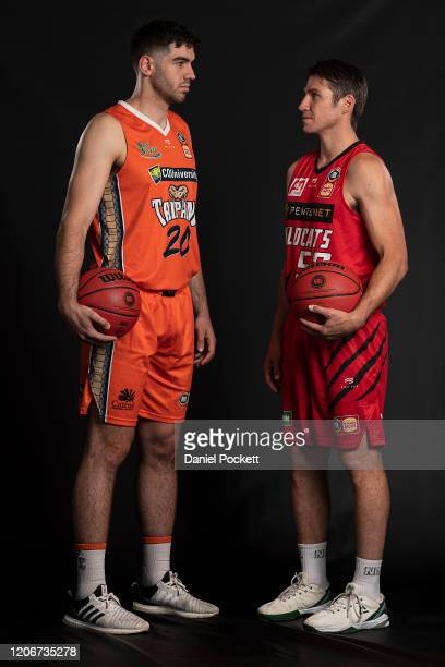 Fabijan Krslovic of the Taipans and Damian Martin of the Wildcats pose during the 2020 NBL Finals Launch at Crown Palladium on February 17, 2020 in...