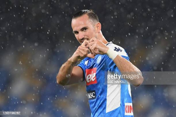 Fabián Ruiz of Napoli celebrates after scoring the first goal during the Serie A match between SSC Napoli and SS Lazio at Stadio San Paolo on August...