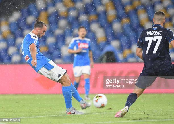 Fabián Ruiz of Napoli scores the 10 goal during the Serie A match between SSC Napoli and SS Lazio at Stadio San Paolo on August 01 2020 in Naples...