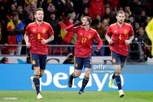 Fabián Ruiz of Spain celebrates 1-0 with Saúl Ñiguez of Spain, Iñigo Martinez of Spain during the EURO Qualifier match between Spain v Romania at...
