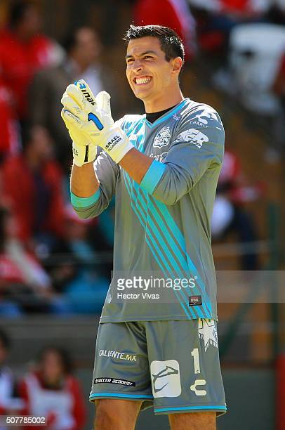 Fabián Villaseñor goalkeeper of Puebla celebrates the first goal of his team during the fourth round match between Toluca and Puebla as part of the...