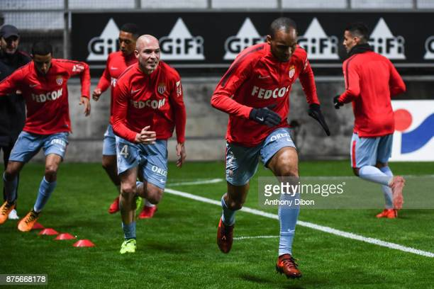 Fabinho and Andrea Raggi of Monaco during the Ligue 1 match between Amiens SC and AS Monaco at Stade de la Licorne on November 17 2017 in Amiens