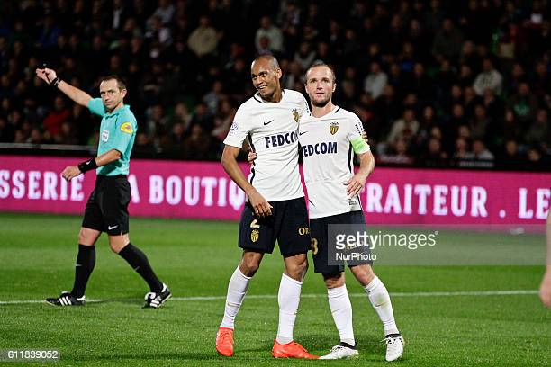 Fabinho and Germain Valere of Monaco team celebrate a goal during the Ligue 1 match between FC Metz and AS Monaco at Stade SaintSymphorien on October...