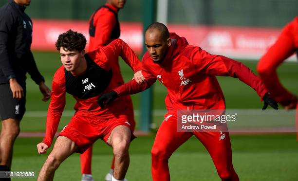 Fabinho and Neco Williams of Liverpool during a training session at Melwood Training Ground on October 17 2019 in Liverpool England