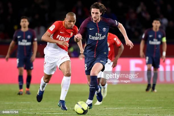 Fabinho of AS Monaco Adrien Rabiot of Paris Saint Germain during the French League 1 match between Paris Saint Germain v AS Monaco at the Parc des...