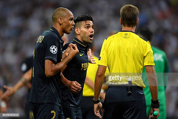 Fabinho of AS Monaco and Radamel Falcao Garcia of AS Monaco appeal to the referee during the UEFA Champions League match between Tottenham Hotspur FC...