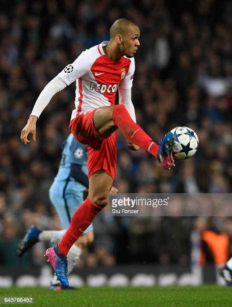 Fabinho of AS Monaco in action during the UEFA Champions League Round of 16 first leg match between Manchester City FC and AS Monaco at Etihad...