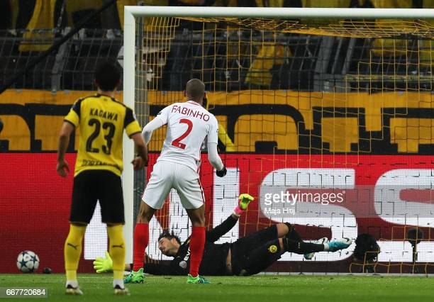 Fabinho of AS Monaco misses his penalty during the UEFA Champions League Quarter Final first leg match between Borussia Dortmund and AS Monaco at...