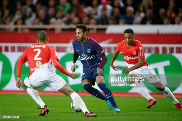 Fabinho of AS Monaco Neymar Jr of Paris Saint Germain Youri Tielemans of AS Monaco during the French League 1 match between AS Monaco v Paris Saint...