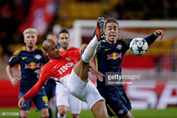 Fabinho of AS Monaco Yussuf Poulsen of RB Leipzig during the UEFA Champions League match between AS Monaco v RB Leipzig at the Stade Louis II on...
