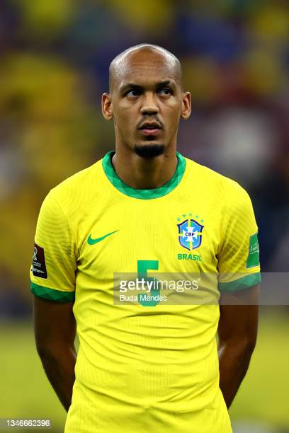 Fabinho of Brazil looks on prior to a match between Brazil and Uruguay as part of South American Qualifiers for Qatar 2022 at Arena Amazonia on...