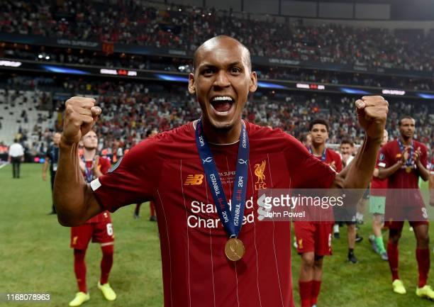 Fabinho of Liverpool at the end of the UEFA Super Cup match between Liverpool and Chelsea at Vodafone Park on August 14, 2019 in Istanbul, Turkey.