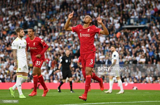 Fabinho of Liverpool celebrates after scoring their side's second goal during the Premier League match between Leeds United and Liverpool at Elland...