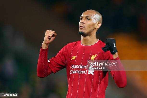 Fabinho of Liverpool celebrates after the Premier League match between Norwich City and Liverpool FC at Carrow Road on February 15 2020 in Norwich...