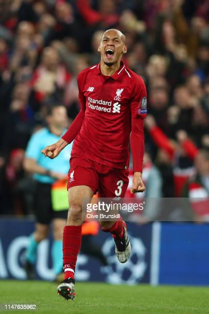 Fabinho of Liverpool celebrates after the UEFA Champions League Semi Final second leg match between Liverpool and Barcelona at Anfield on May 07 2019...
