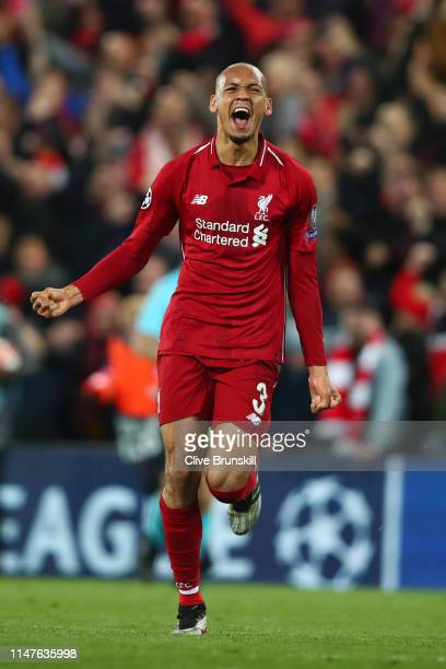 Fabinho of Liverpool celebrates after the UEFA Champions League Semi Final second leg match between Liverpool and Barcelona at Anfield on May 07,...