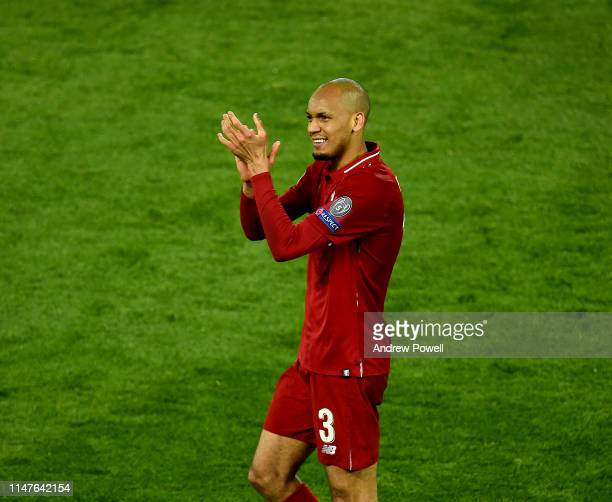 Fabinho of Liverpool celebrates the win and shows his appreciation to the fans at the end of the UEFA Champions League Semi Final second leg match...