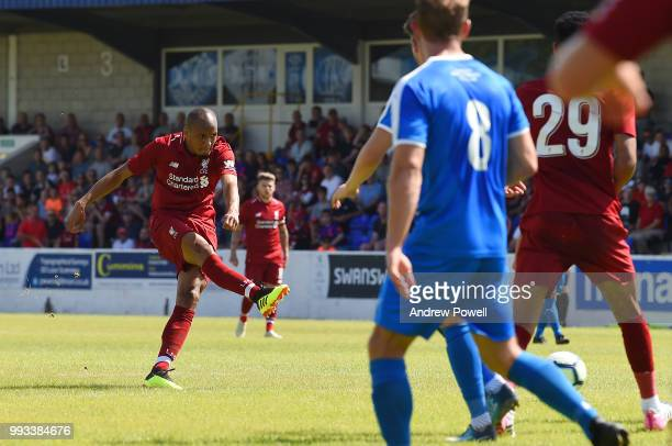 Fabinho of Liverpool comes close to scoring a goal during the Preseason friendly between Chester FC and Liverpool on July 7 2018 in Chester United...