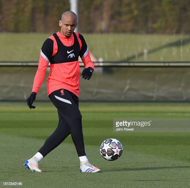 Fabinho of Liverpool during a training session at AXA Training Centre on April 13, 2021 in Kirkby, England.