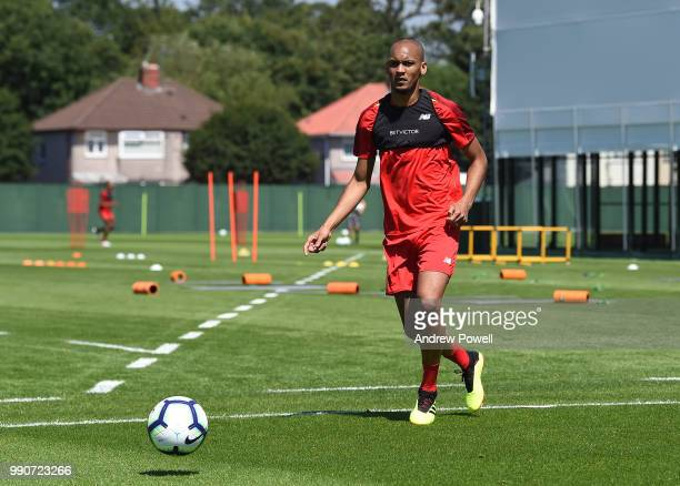 Fabinho of Liverpool during a training session on the second day back at Melwood Training Ground for the preseason training on July 3 2018 in...