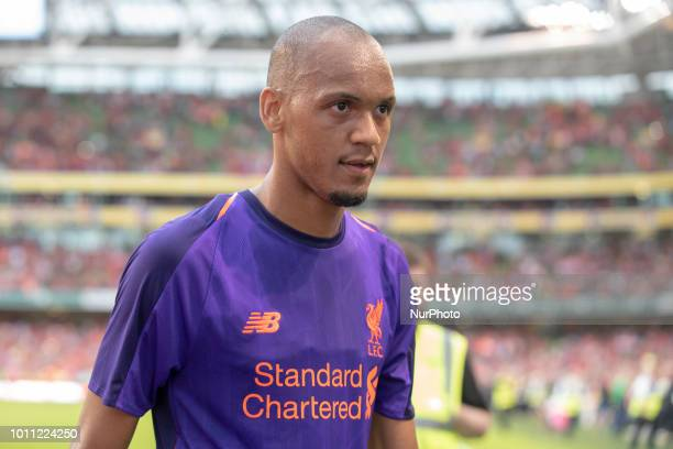 Fabinho of Liverpool during the International Club Friendly match between Liverpool FC and SSC Napoli at Aviva Stadium in Dublin Ireland on August 4...