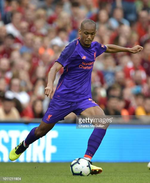Fabinho of Liverpool during the international friendly game between Liverpool and Napoli at Aviva Stadium on August 4 2018 in Dublin Ireland