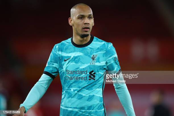 Fabinho of Liverpool during the Premier League match between Southampton and Liverpool at St Mary's Stadium on January 04, 2021 in Southampton,...