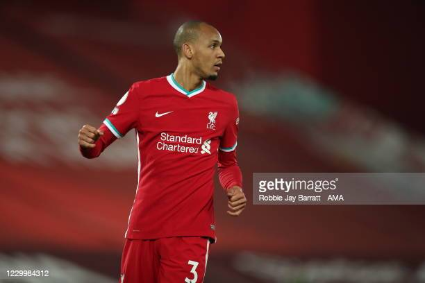 Fabinho of Liverpool during the Premier League match between Liverpool and Wolverhampton Wanderers at Anfield on December 6, 2020 in Liverpool,...
