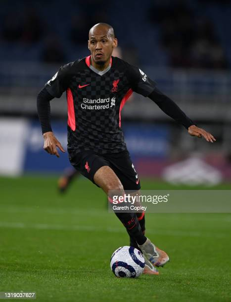 Fabinho of Liverpool during the Premier League match between Burnley and Liverpool at Turf Moor on May 19, 2021 in Burnley, England.