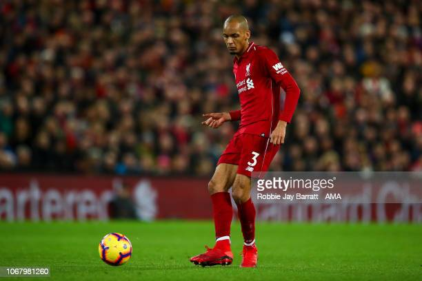 Fabinho of Liverpool during the Premier League match between Liverpool FC and Everton FC at Anfield on December 2 2018 in Liverpool United Kingdom