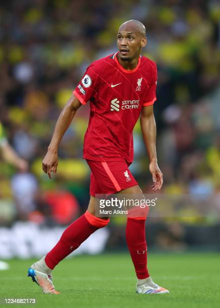 Fabinho of Liverpool during the Premier League match between Norwich City and Liverpool at Carrow Road on August 14, 2021 in Norwich, England.
