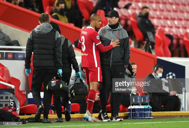 Fabinho of Liverpool during the UEFA Champions League Group D stage match between Liverpool FC and FC Midtjylland at Anfield on October 27 2020 in...