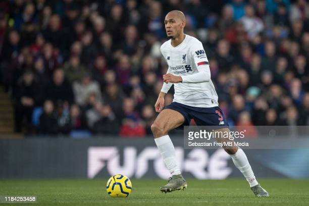 Fabinho of Liverpool FC control ball during the Premier League match between Crystal Palace and Liverpool FC at Selhurst Park on November 23 2019 in...