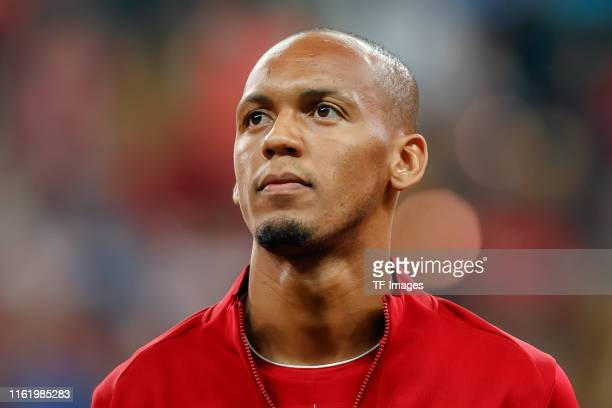 Fabinho of Liverpool FC looks on prior to the UEFA Super Cup match between FC Liverpool and FC Chelsea at Vodafone Park on August 14, 2019 in...