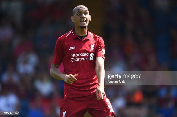 Fabinho of Liverpool in action during a preseason friendly match between Bury and Liverpool at Gigg Lane on July 14 2018 in Bury England