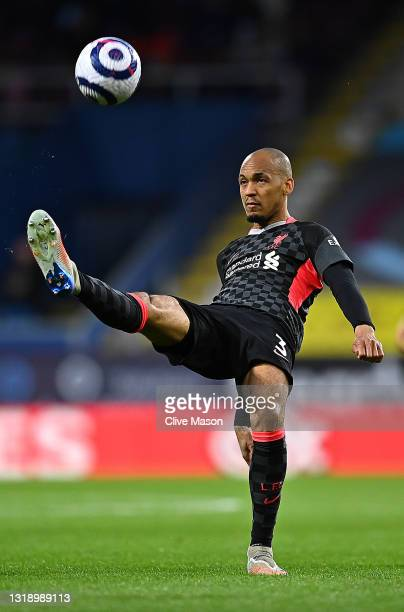 Fabinho of Liverpool in action during the Premier League match between Burnley and Liverpool at Turf Moor on May 19, 2021 in Burnley, England.