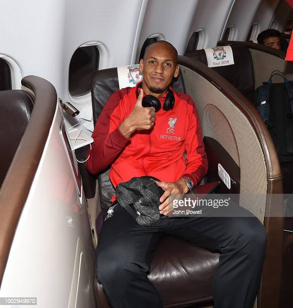 Pedro Chirivella of Liverpool on the plane ready to depart from Manchester Airport for Preseason tour in America on July 20 2018 in Liverpool England