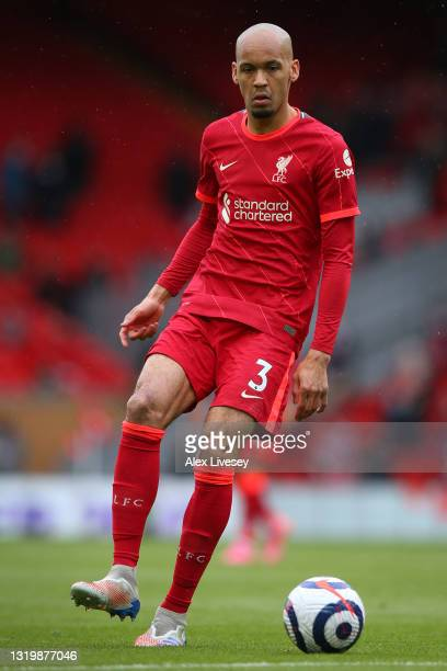 Fabinho of Liverpool passes the ball during the Premier League match between Liverpool and Crystal Palace at Anfield on May 23, 2021 in Liverpool,...