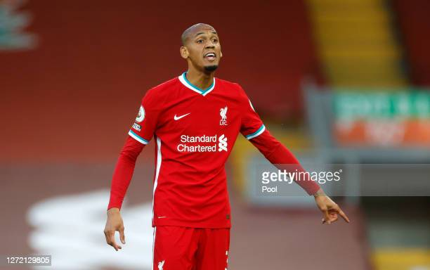 Fabinho of Liverpool reacts during the Premier League match between Liverpool and Leeds United at Anfield on September 12, 2020 in Liverpool, England.