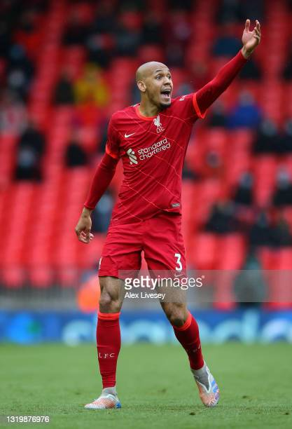 Fabinho of Liverpool reacts during the Premier League match between Liverpool and Crystal Palace at Anfield on May 23, 2021 in Liverpool, England.