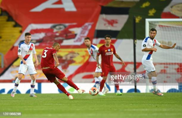 Fabinho of Liverpool scores his sides third goal during the Premier League match between Liverpool FC and Crystal Palace at Anfield on June 24, 2020...