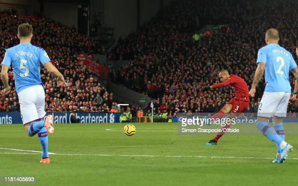 Fabinho of Liverpool scores the opening goal during the Premier League match between Liverpool FC and Manchester City at Anfield on November 10, 2019...