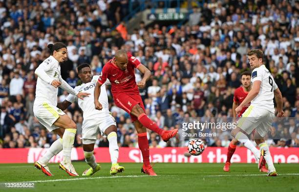 Fabinho of Liverpool scores their side's second goal during the Premier League match between Leeds United and Liverpool at Elland Road on September...