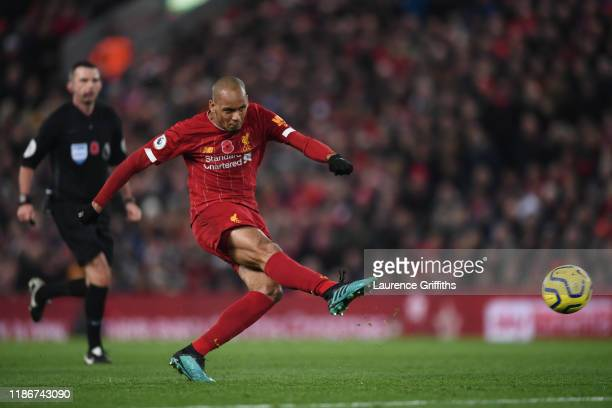 Fabinho of Liverpool shoots during the Premier League match between Liverpool FC and Manchester City at Anfield on November 10 2019 in Liverpool...