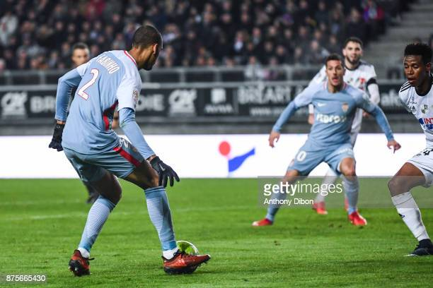 Fabinho of Monaco passes the ball to stevan Jovetic before he scores a goal during the Ligue 1 match between Amiens SC and AS Monaco at Stade de la...