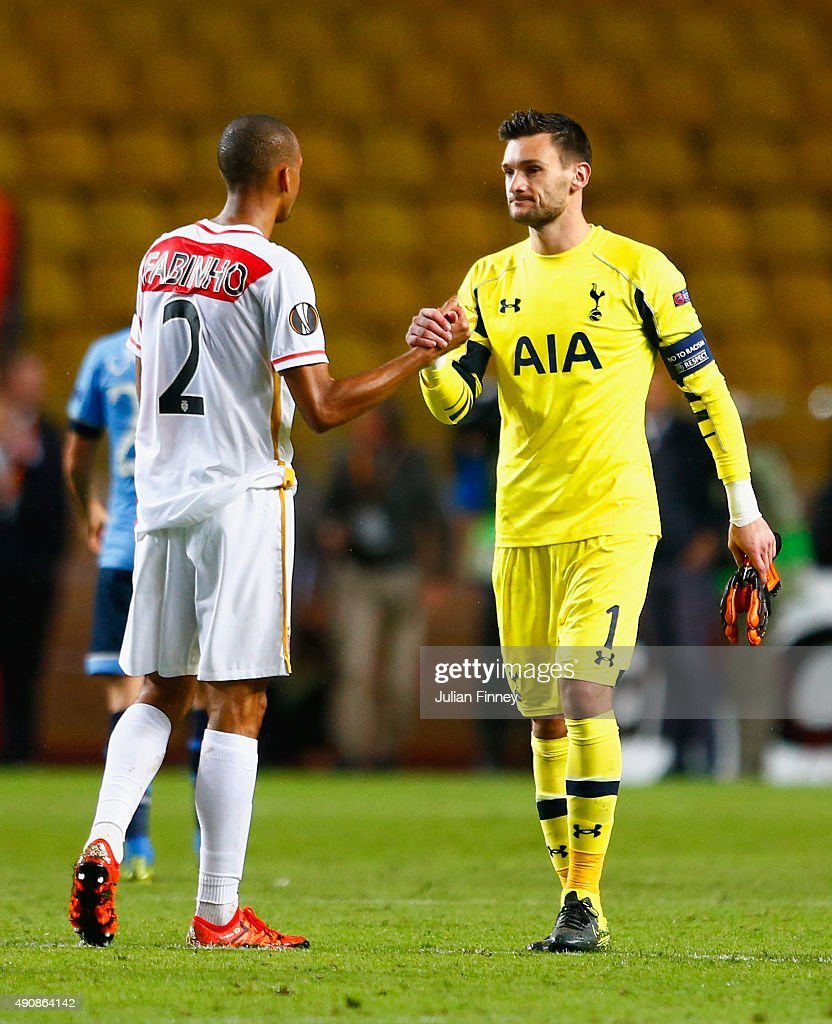 Fabinho of Monaco shakes hands with Hugo Lloris of Tottenham Hotspur after the UEFA Europa League group J match between AS Monaco FC and Tottenham Hotspur FC at Stade Louis II on October 1, 2015 in Monaco, Monaco.