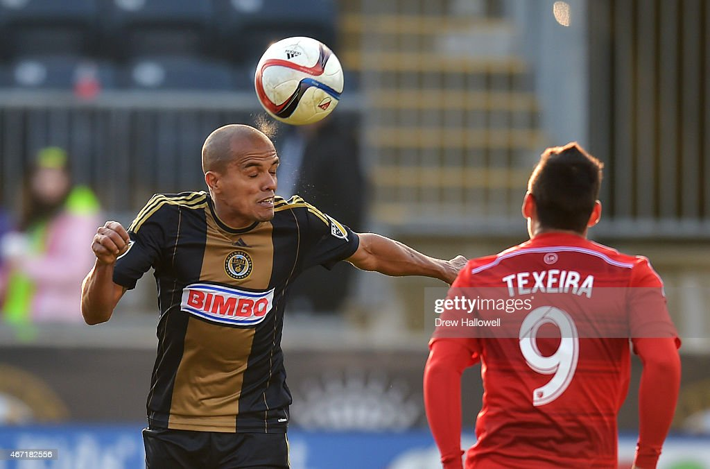Fabinho #33 of Philadelphia Union heads the ball away from David Texeira #9 of FC Dallas at PPL Park on March 21, 2015 in Chester, Pennsylvania. Dallas won 2-0.