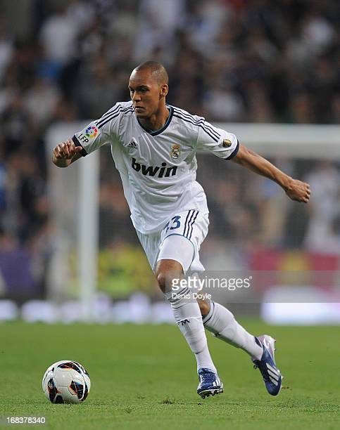 Fabinho of Real Madrid CF in action during the La Liga match between Real Madrid CF and Malaga CF at estadio Santiago Bernabeu on May 8, 2013 in...